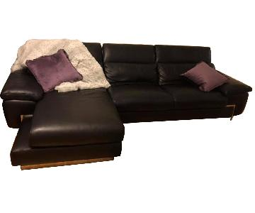Black Leather Sectional Sofa w/ Chaise