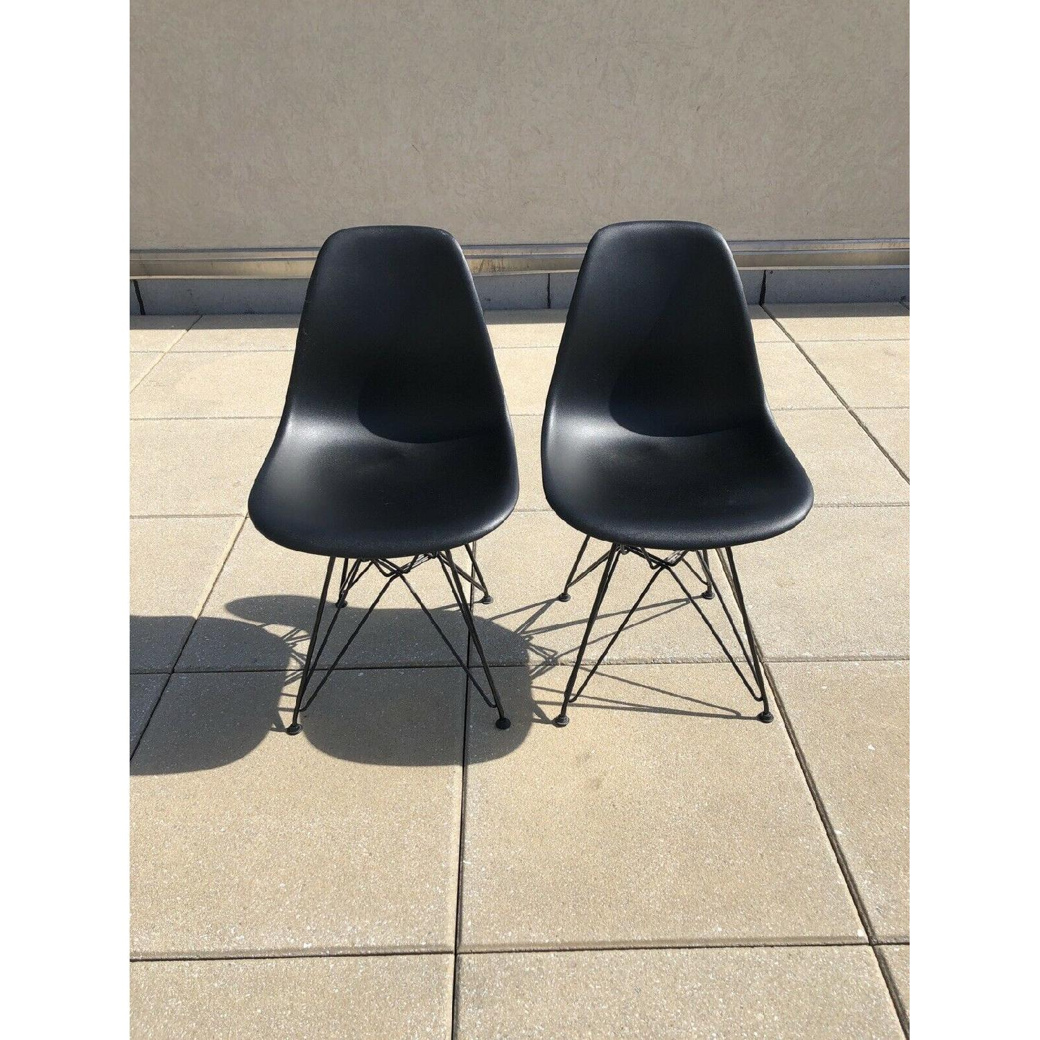 Eames Molded Plastic Black Wire Base Side Chairs - image-2