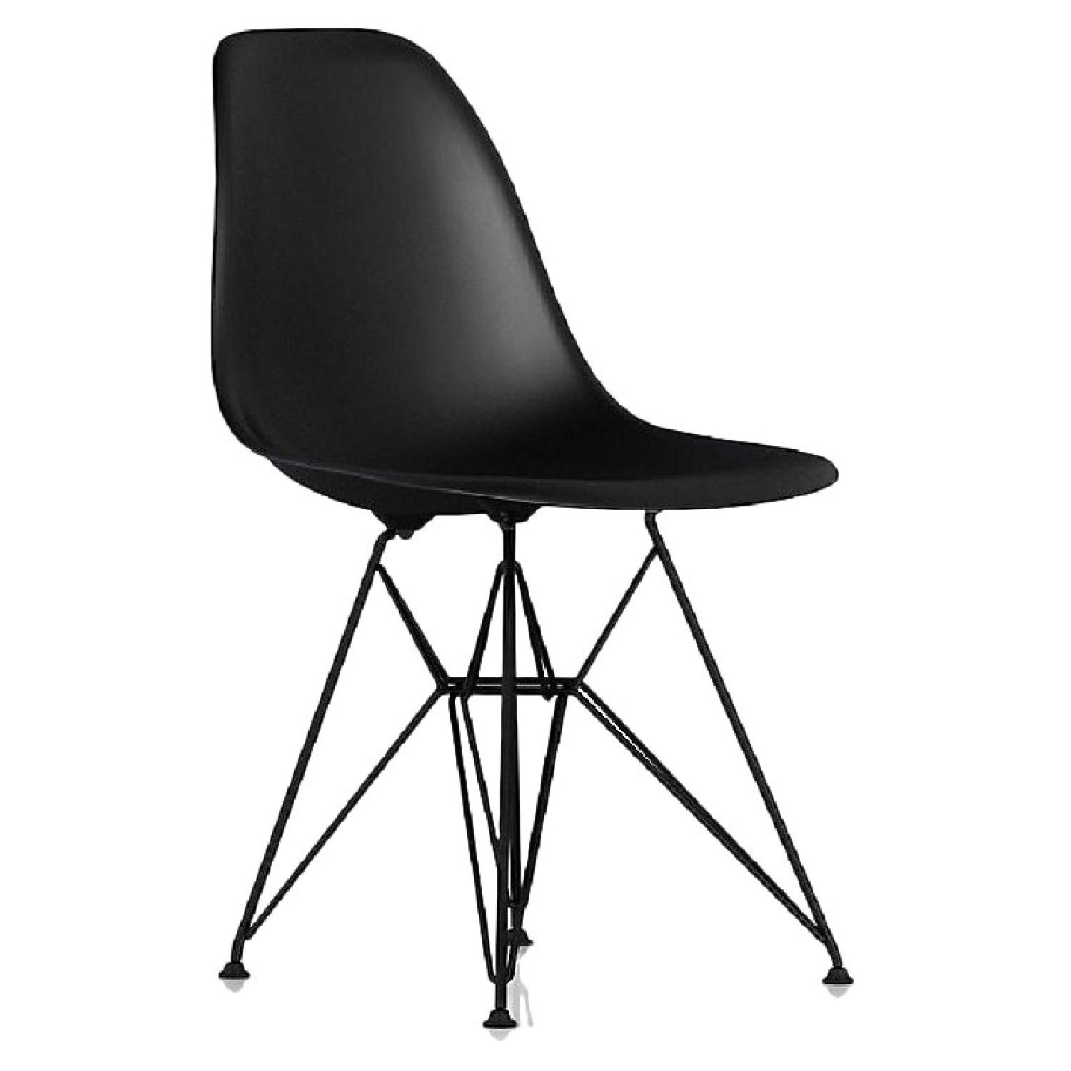 Eames Molded Plastic Black Wire Base Side Chairs - image-0