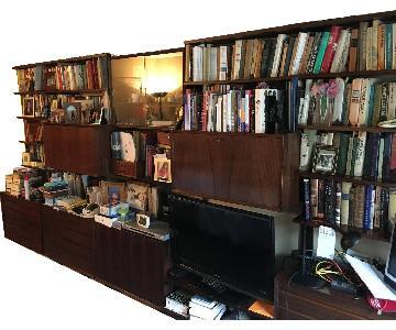 Vintage Walnut Library Shelving Unit/Bookcase