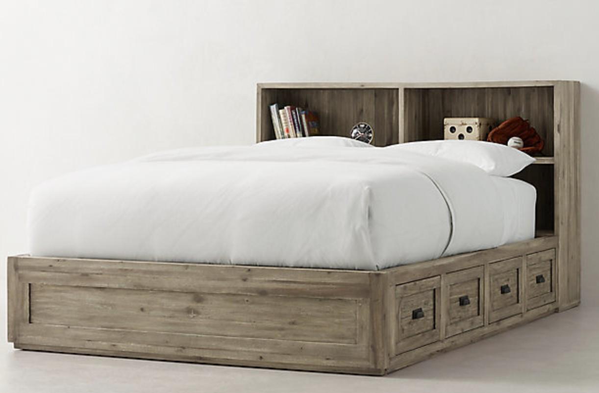 Restoration Hardware Keynes Storage Bed w/ Cubby Headboard