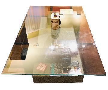 Raymour & Flanigan Black & Glass Top Coffee Table