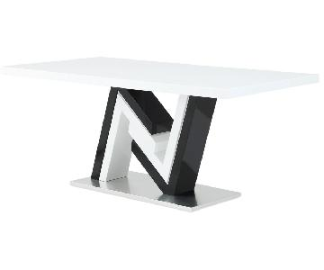 Global Furniture White & Black Marble Dining Table