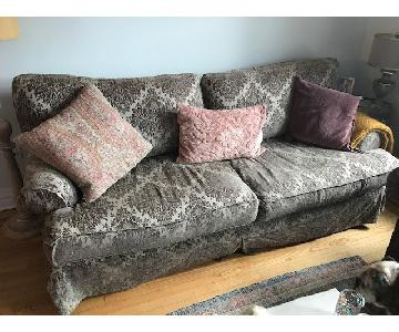 Shabby Chic Slipcover Comfy Sofa w/ Custom Down Cushions