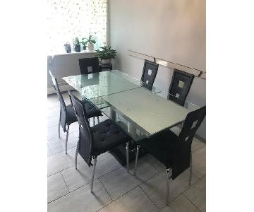 Expandable Glass Top/Marble Base Dining Table w/ 6 Chairs