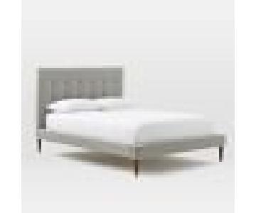 West Elm Grid-Tufted Upholstered Tapered Leg Bed