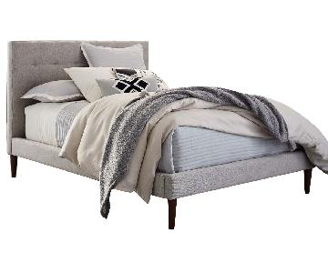 West Elm Grid-Tufted Upholstered Tapered Leg Bed