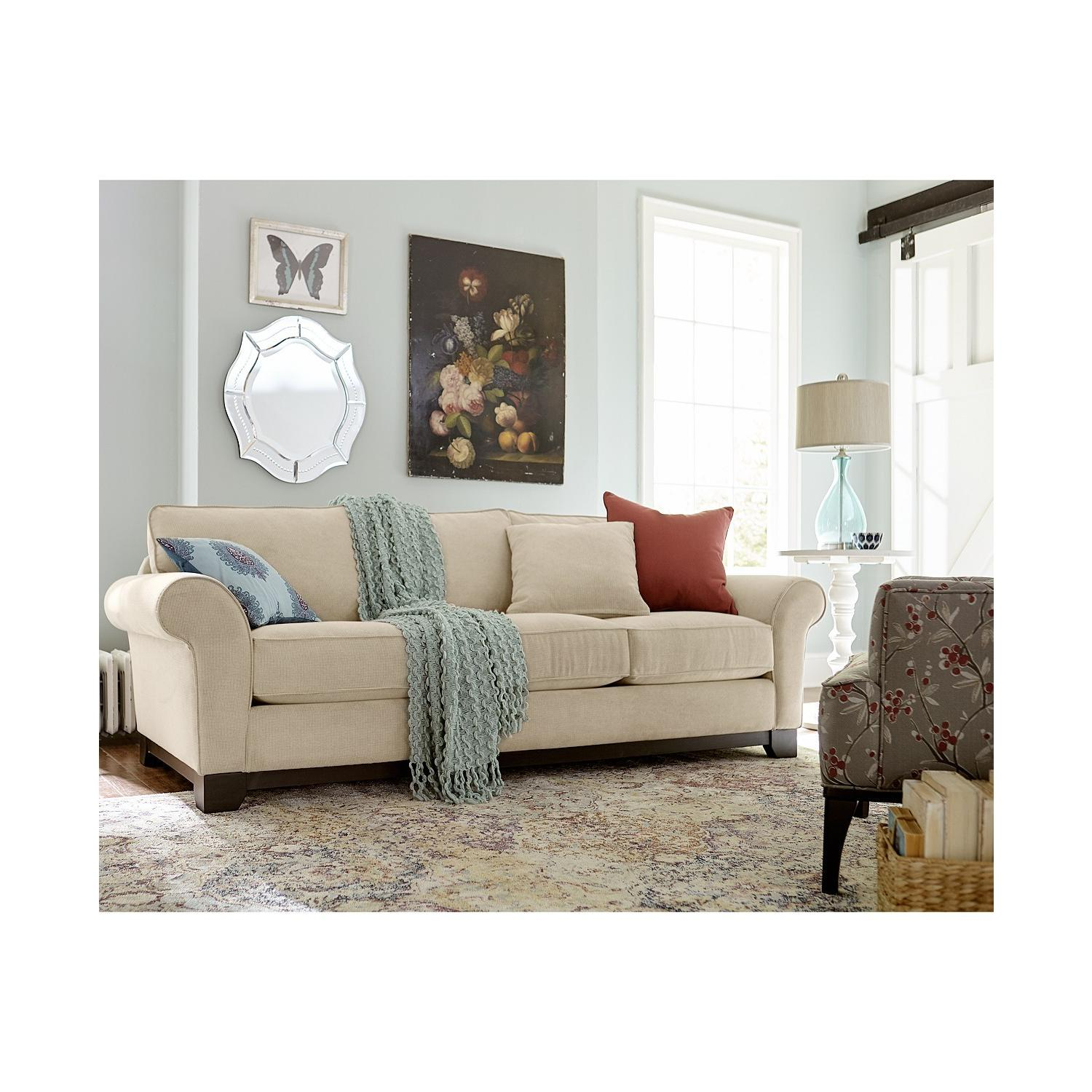 Macy's Medland Fabric Roll Arm Loveseat w/ 2 Pillows - image-1