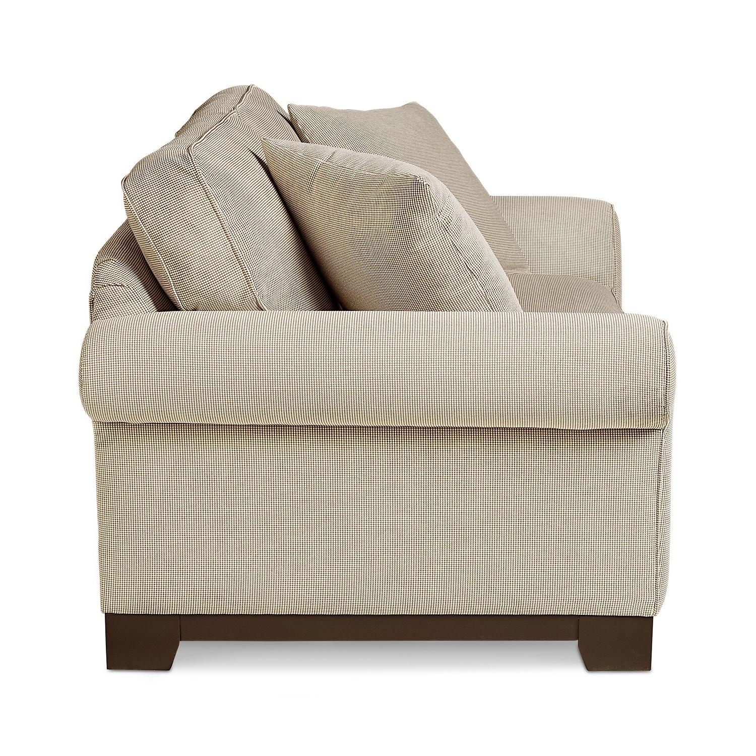 Macy's Medland Fabric Roll Arm Loveseat w/ 2 Pillows - image-2