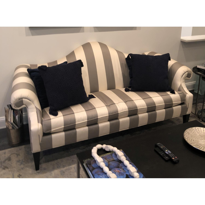 Ethan Allen Hepburn Sofa in Blossom Oyster Grey/White Stripe - image-1