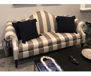 Ethan Allen Hepburn Sofa in Blossom Oyster Grey/White Stripe