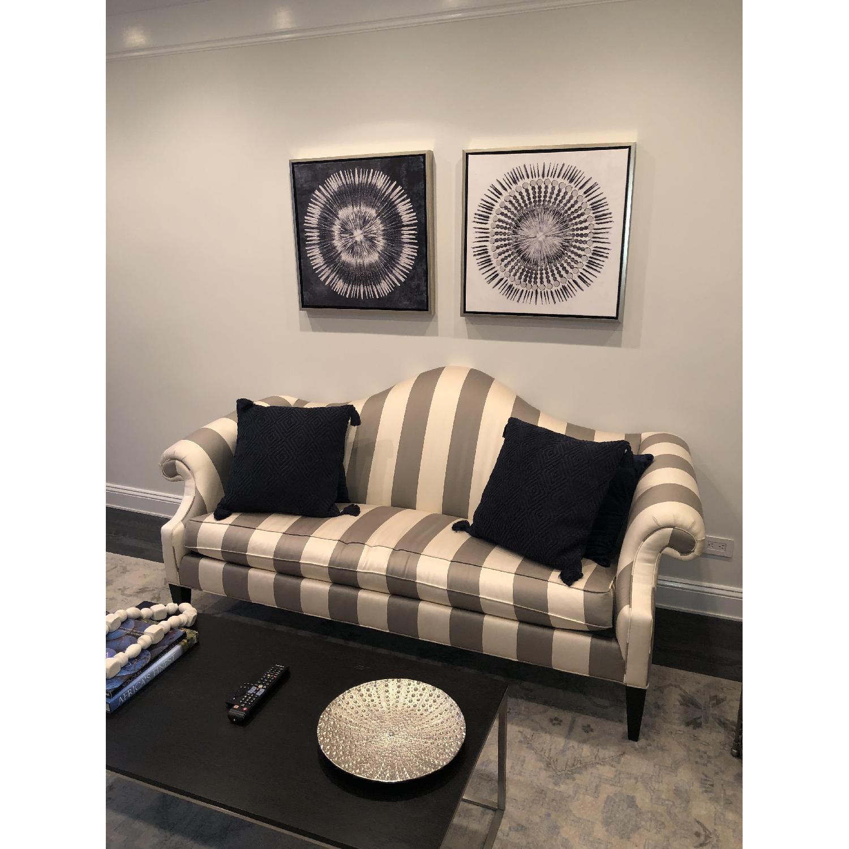Ethan Allen Hepburn Sofa in Blossom Oyster Grey/White Stripe - image-3