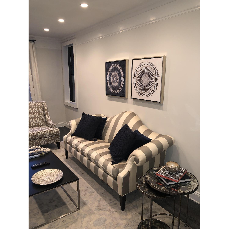 Ethan Allen Hepburn Sofa in Blossom Oyster Grey/White Stripe - image-4