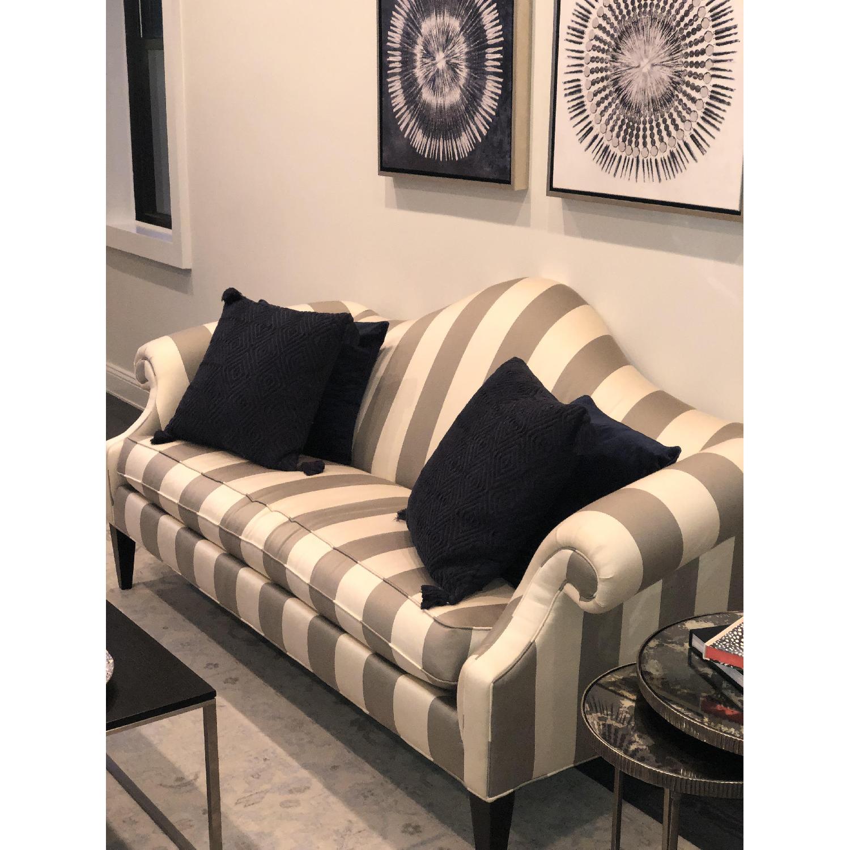 Ethan Allen Hepburn Sofa in Blossom Oyster Grey/White Stripe - image-5