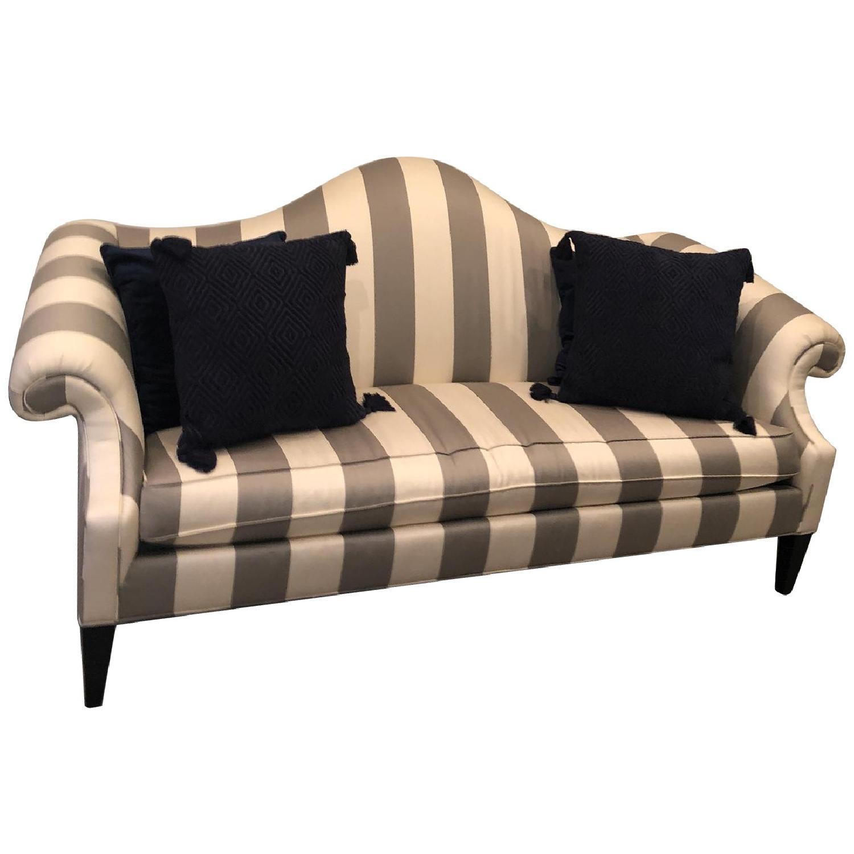 Ethan Allen Hepburn Sofa in Blossom Oyster Grey/White Stripe - image-0