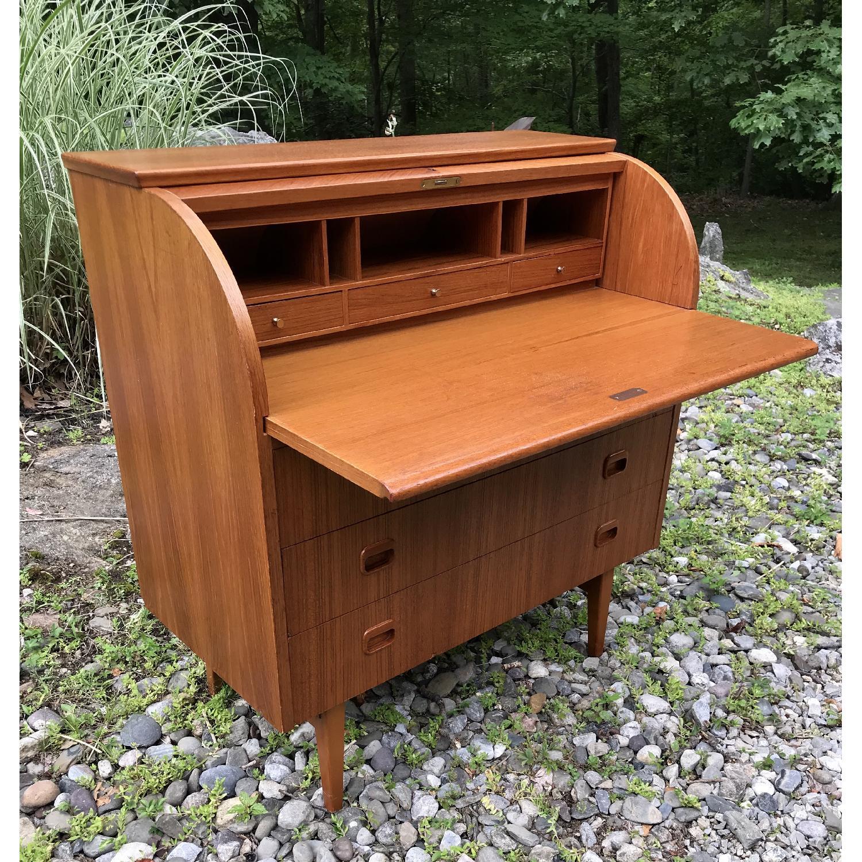Swedish Ostergaard Mid Century Scandinavian Rolltop Desk - image-5