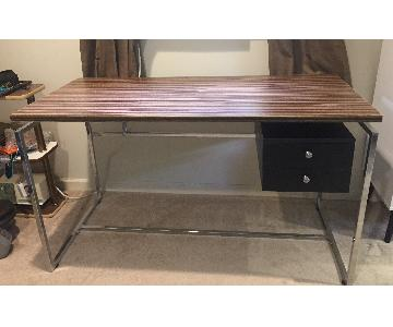 Steel Frame Desk w/ Wood Laminate Top & 2-Drawers