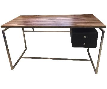 Steel Frame Desk w/ Wood Laminate Top & 2-Drawers