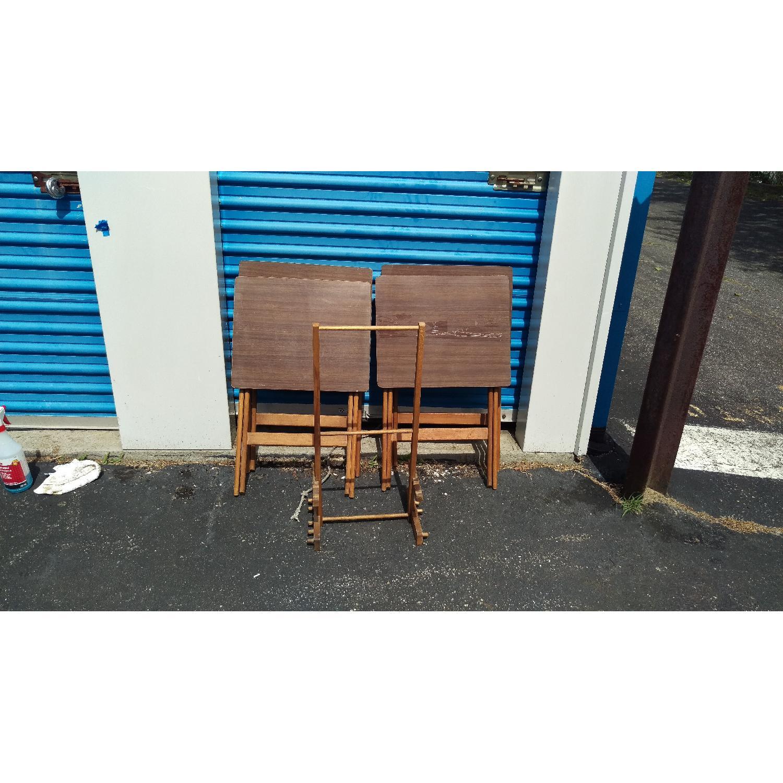 Artex Butlerette 5 Piece Wood Folding TV Snack Tray Set - image-4