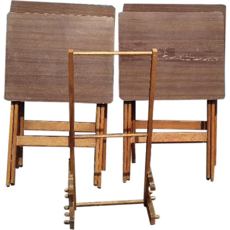 Artex Butlerette 5 Piece Wood Folding TV Snack Tray Set - image-0