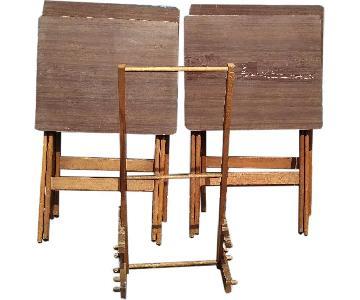 Artex Butlerette 5 Piece Wood Folding TV Snack Tray Set