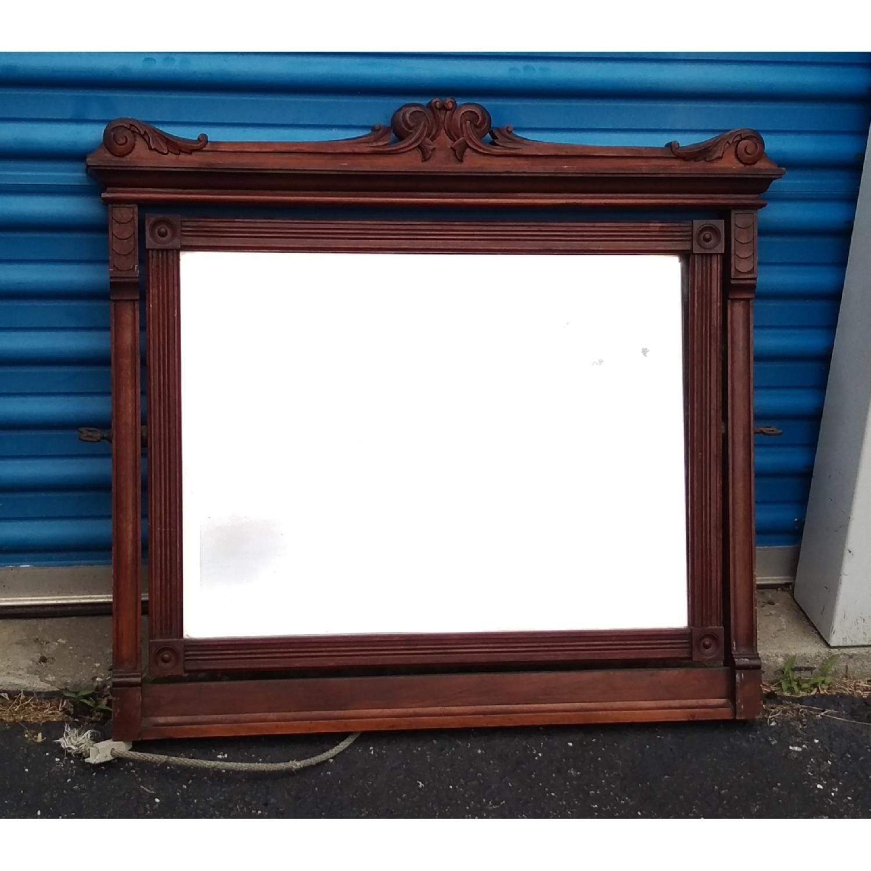 Antique Mahogany Adjustable Wall Mirror w/ Rosettes - image-1