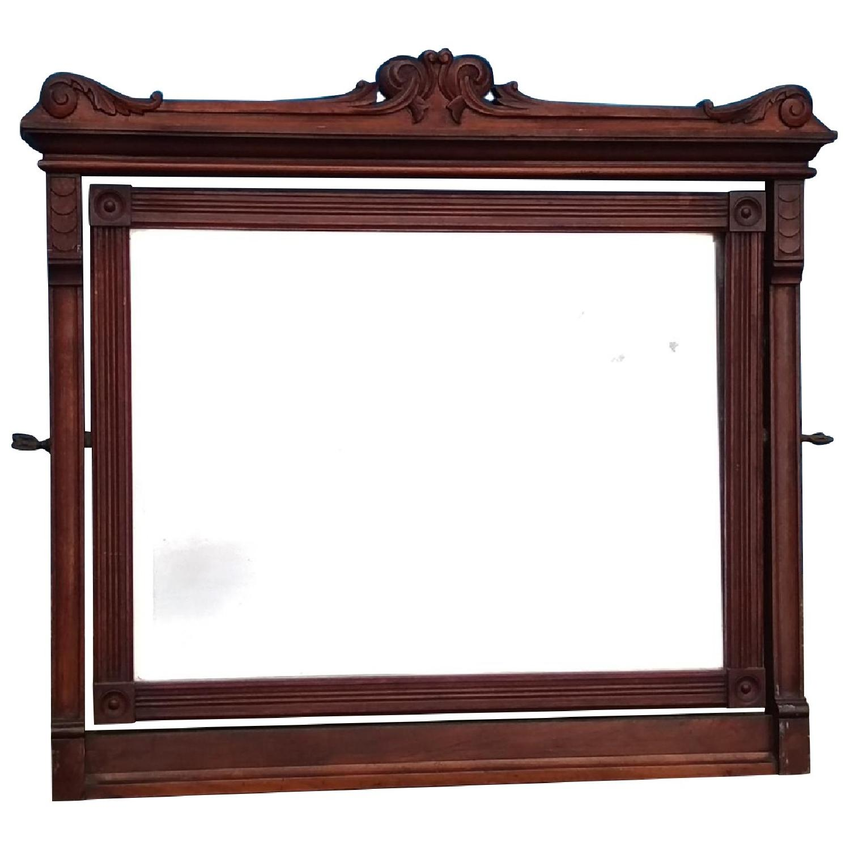 Antique Mahogany Adjustable Wall Mirror w/ Rosettes - image-0
