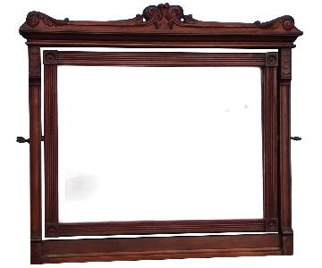 Antique Mahogany Adjustable Wall Mirror w/ Rosettes