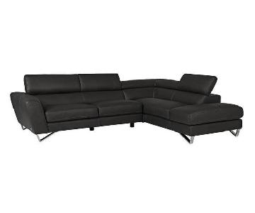 Nicoletti Calia Italian Leather Dark Brown Sectional Sofa