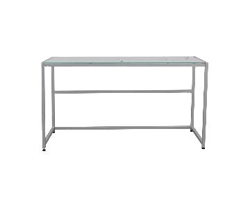 CB2 Trig Glass & Steel Desk