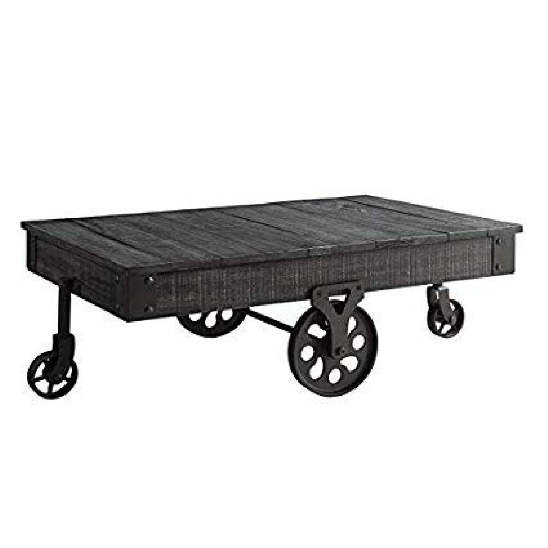 Rustic Grey Coffee Table w/ Wheels - image-1