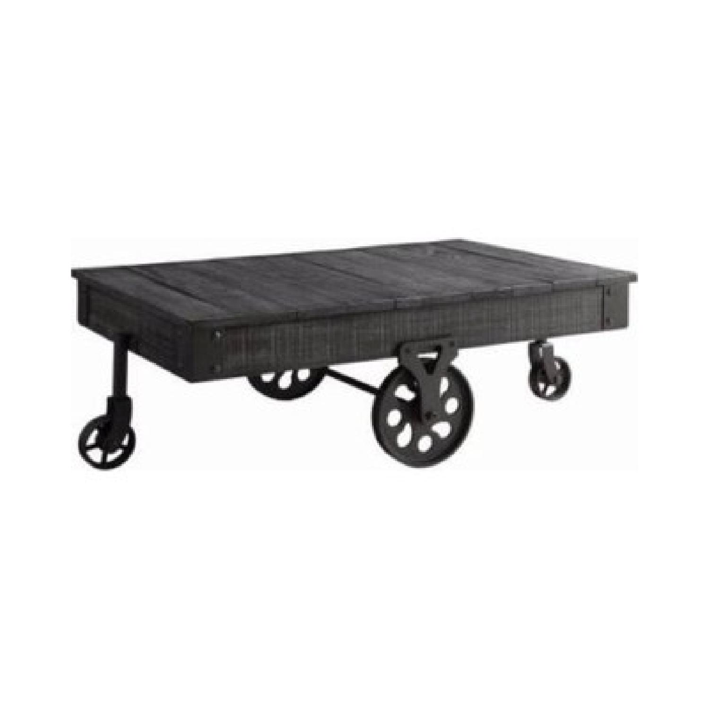 Rustic Grey Coffee Table w/ Wheels - image-0