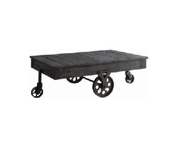 Rustic Grey Coffee Table w/ Wheels