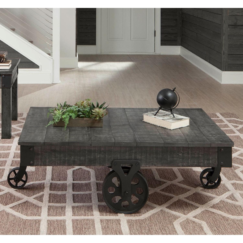 Rustic Grey Coffee Table w/ Wheels - image-2