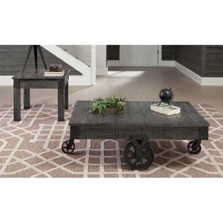 Rustic Grey Coffee Table w/ Wheels - image-3
