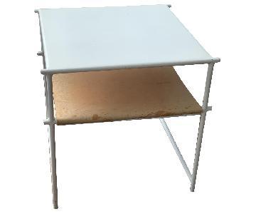 White & Leather Coffee/Side Table w/ Magazine Shelf