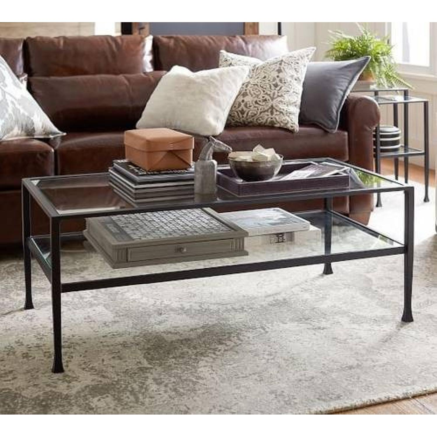 Pottery Barn Tanner Metal & Glass Coffee Table