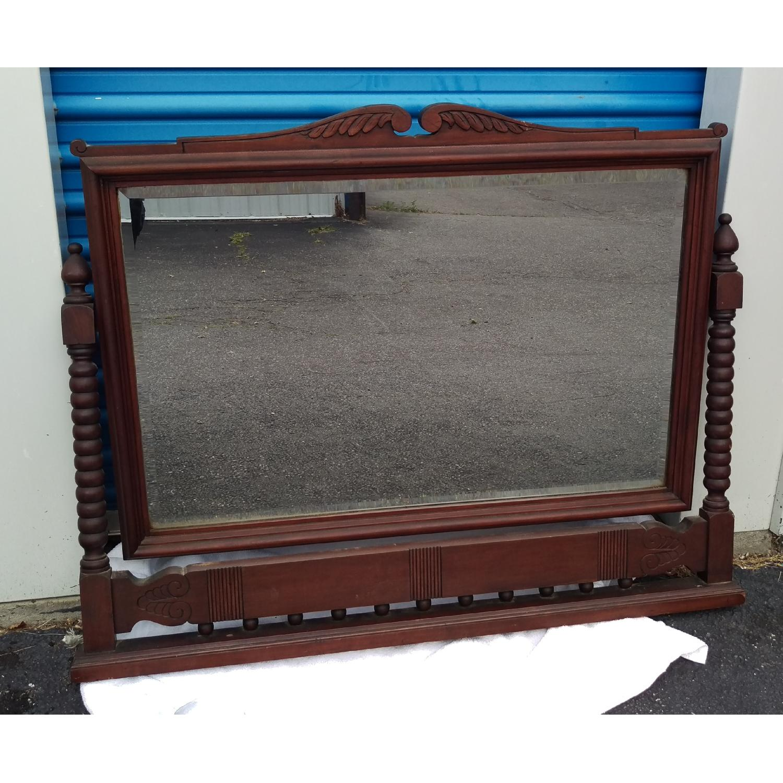Antique Adjustable Circa 1880s Mahogany Wood Wall Mirror - image-1