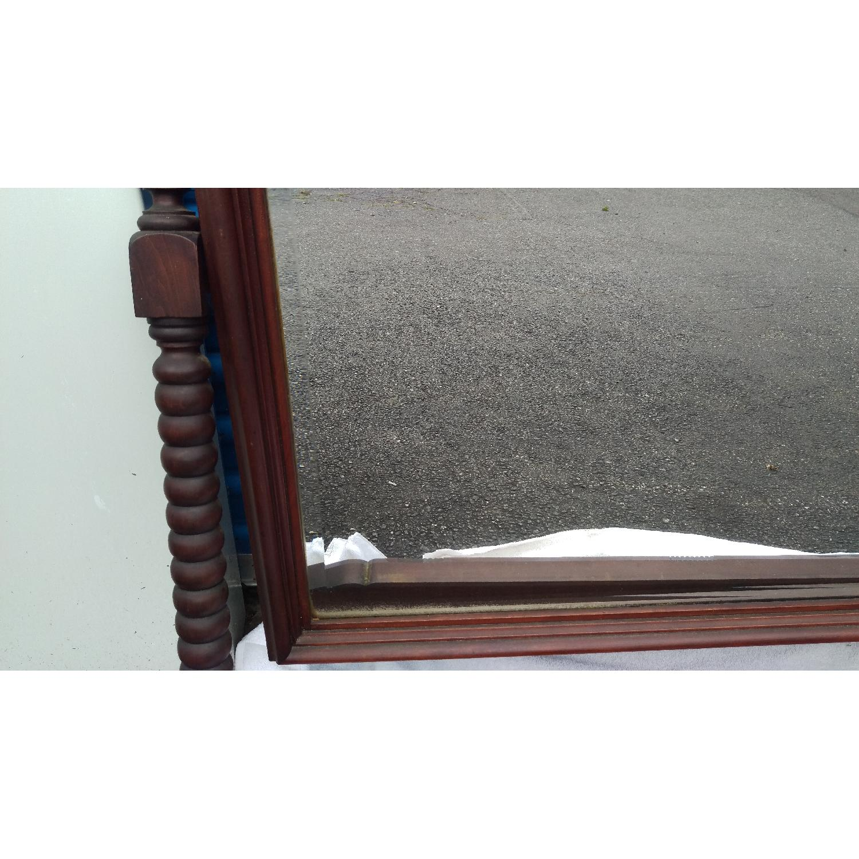 Antique Adjustable Circa 1880s Mahogany Wood Wall Mirror - image-7