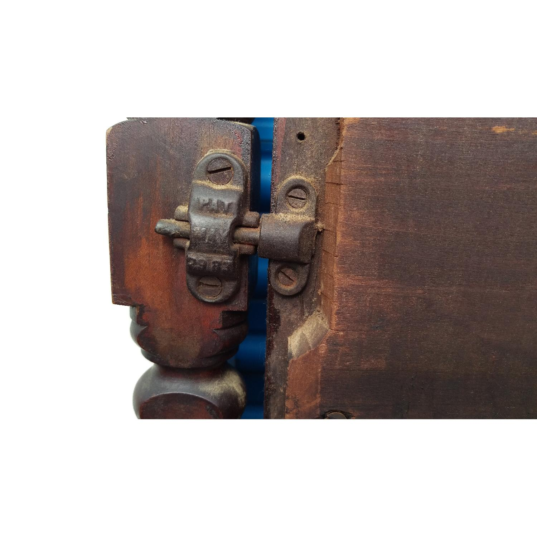 Antique Adjustable Circa 1880s Mahogany Wood Wall Mirror - image-9