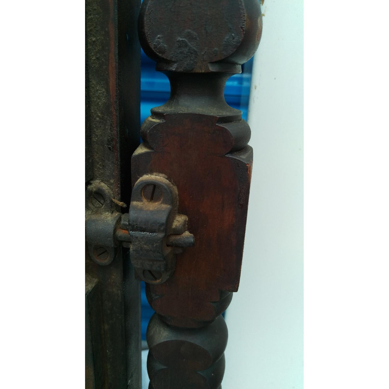 Antique Adjustable Circa 1880s Mahogany Wood Wall Mirror-9