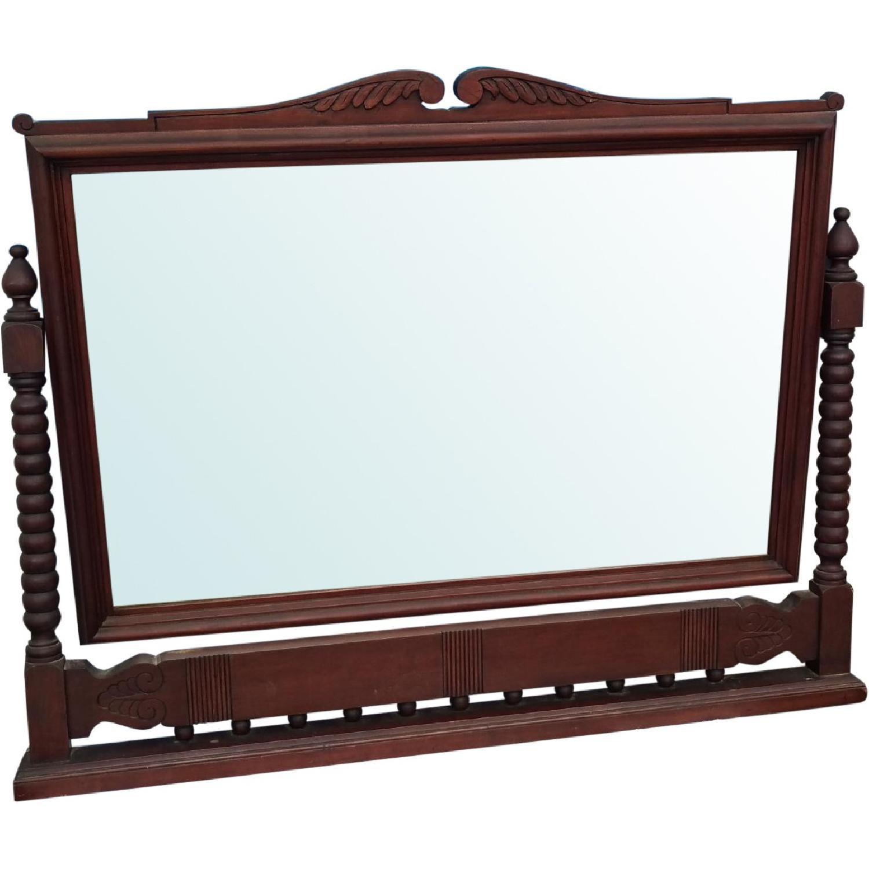 Antique Adjustable Circa 1880s Mahogany Wood Wall Mirror