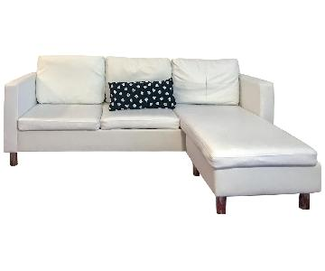 vidaXL Faux White Leather Sectional Sofa