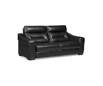 Macy's Black Leather Power Reclining Sofa