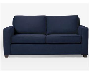 West Elm Henry Sofa in Dark Blue Performance Velvet