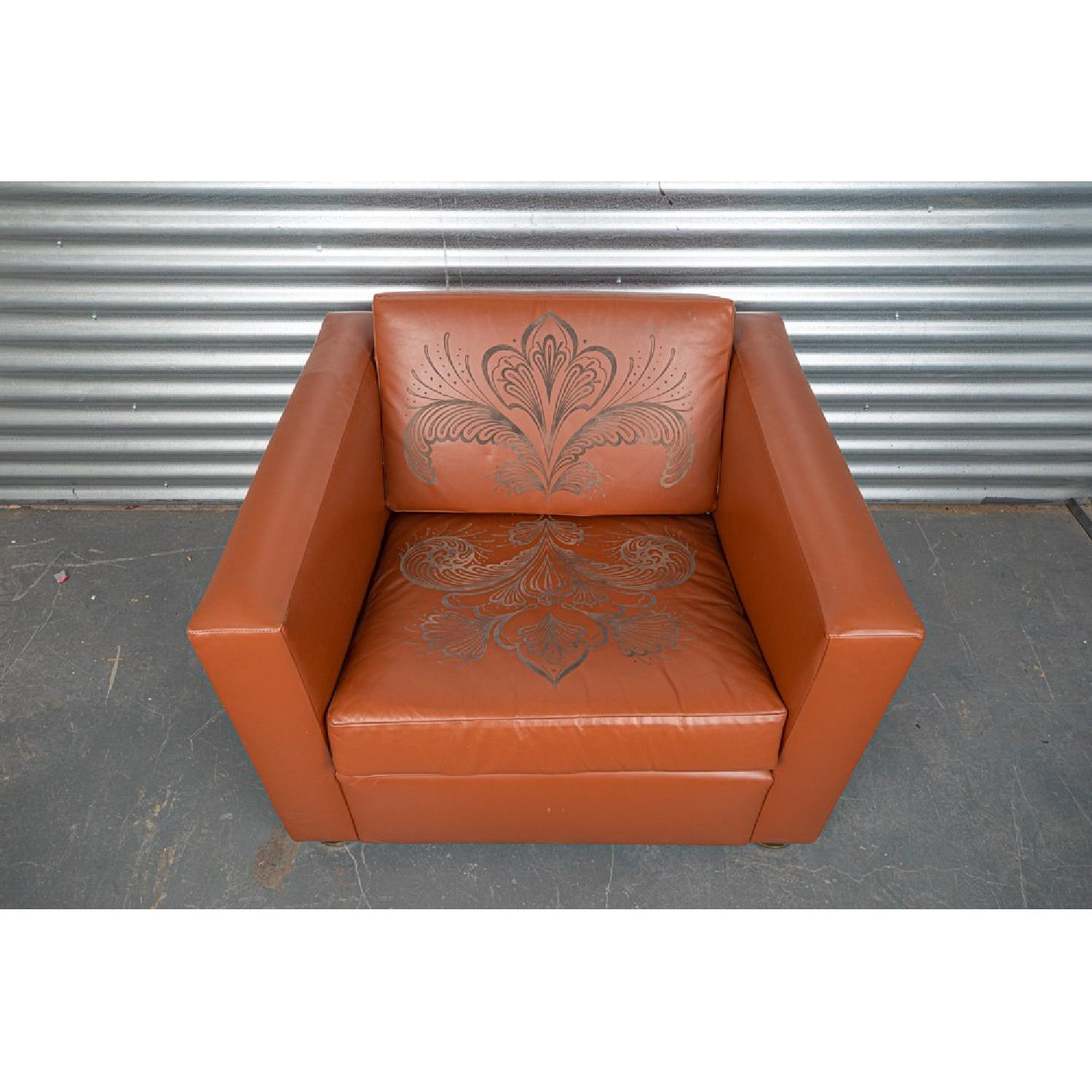 ABC Carpet and Home Engraved Leather Accent Chairs - image-2