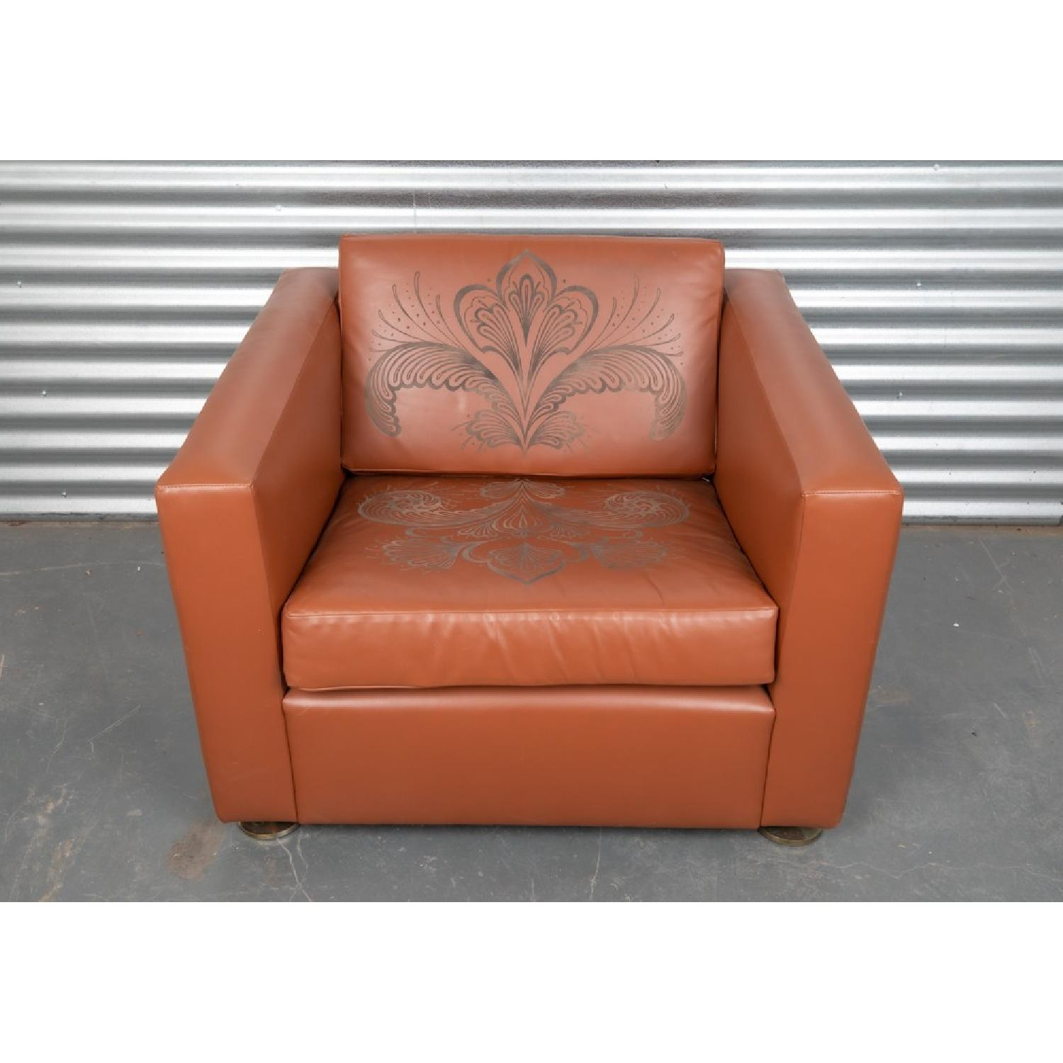 ABC Carpet and Home Engraved Leather Accent Chairs - image-6