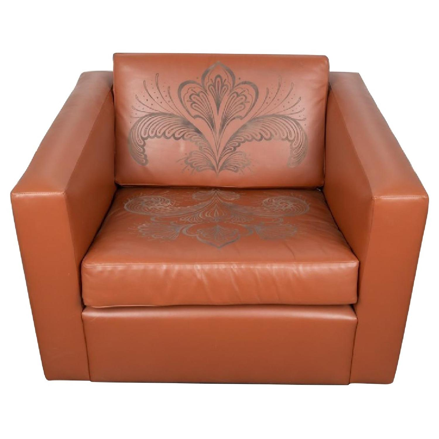 ABC Carpet and Home Engraved Leather Accent Chairs - image-0