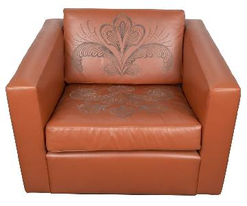 ABC Carpet and Home Engraved Leather Accent Chairs