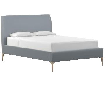 West Elm Andes Deco Upholstered Full Bed in Astor Blue
